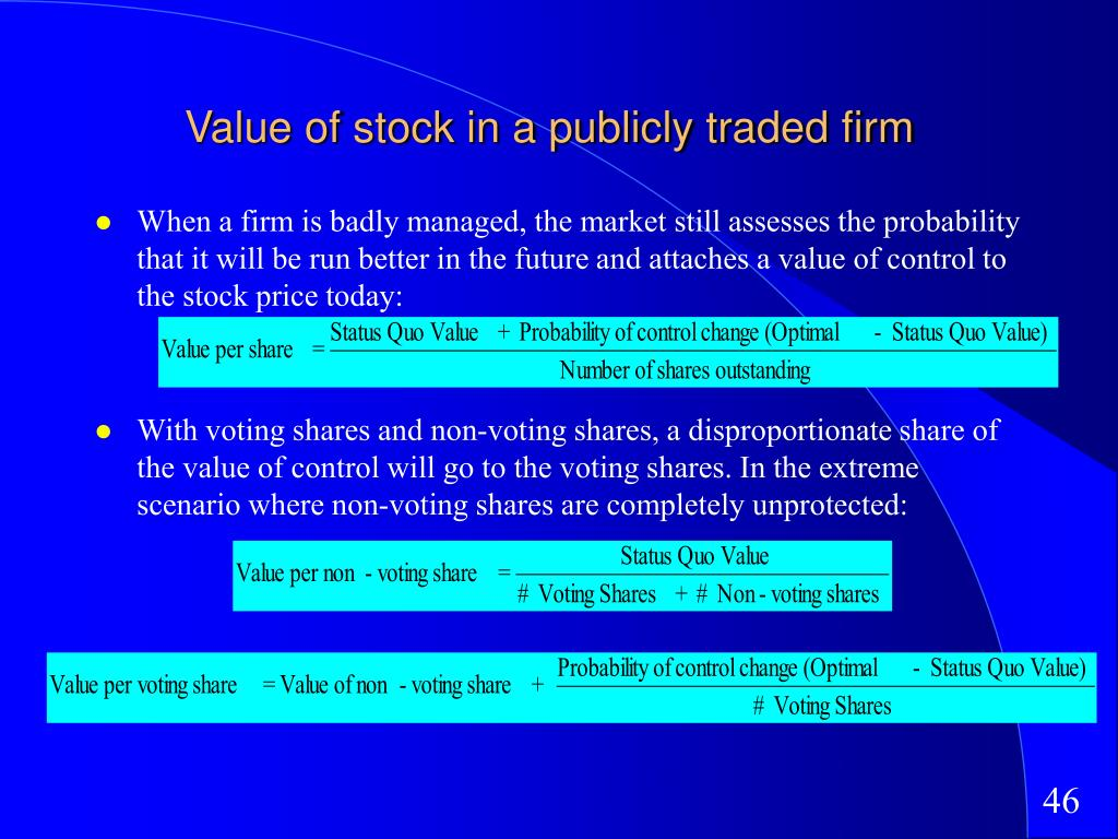 Value of stock in a publicly traded firm