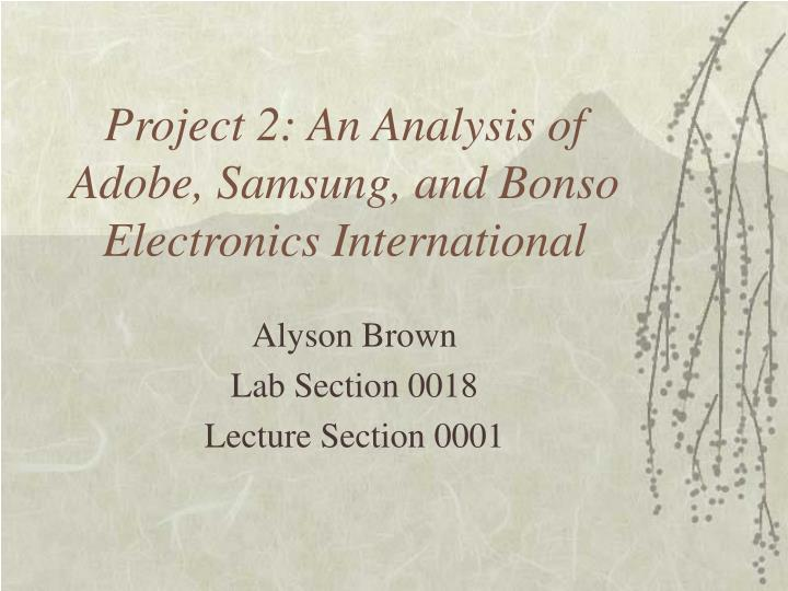 Project 2 an analysis of adobe samsung and bonso electronics international