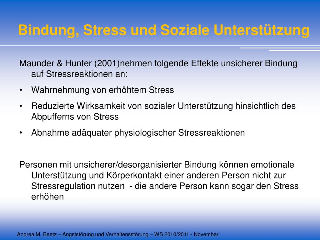 Bindung, Stress und Soziale Unterstützung