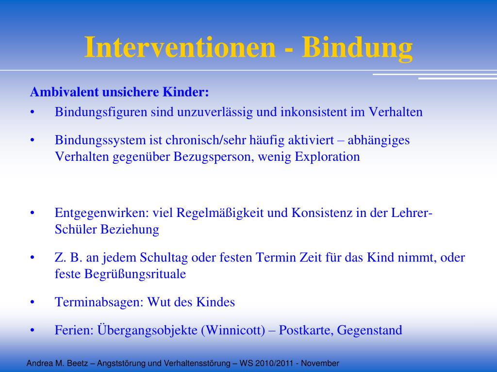 Interventionen - Bindung