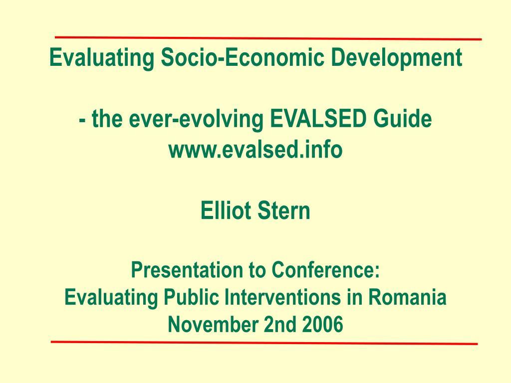 Evaluating Socio-Economic Development