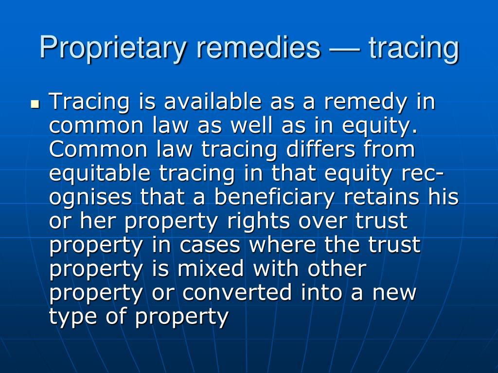 Proprietary remedies — tracing