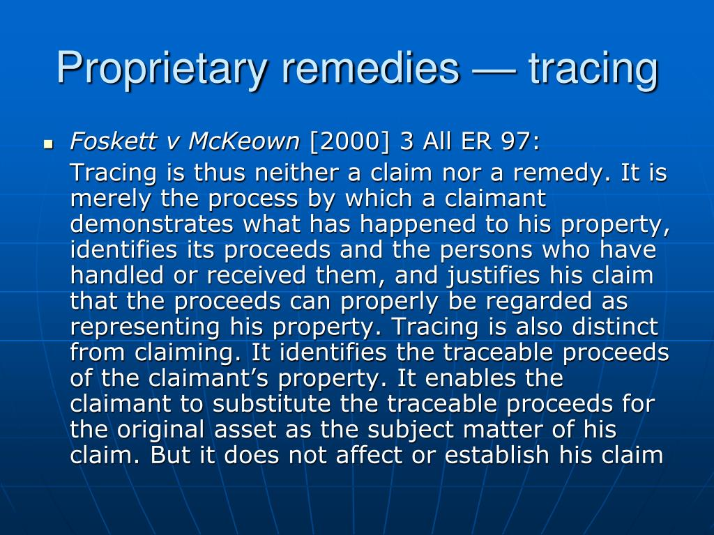 Proprietary remedies — tracing