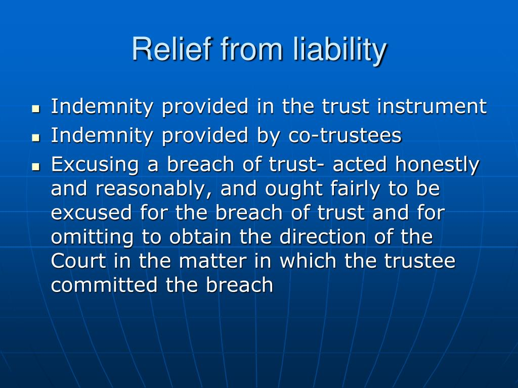 Relief from liability
