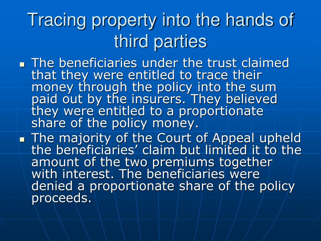Tracing property into the hands of third parties