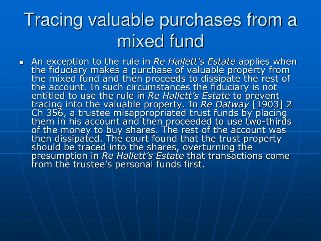 Tracing valuable purchases from a mixed fund
