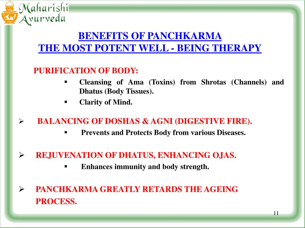 BENEFITS OF PANCHKARMA