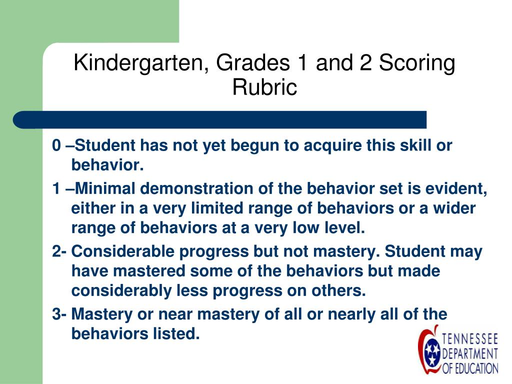 Kindergarten, Grades 1 and 2 Scoring Rubric