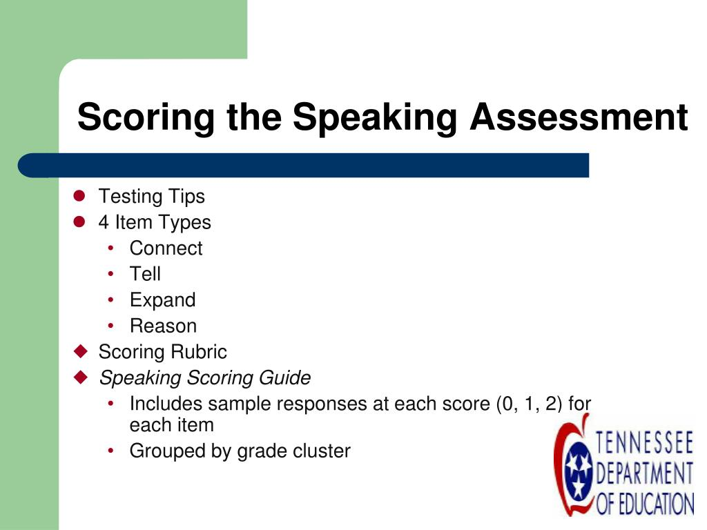Scoring the Speaking Assessment