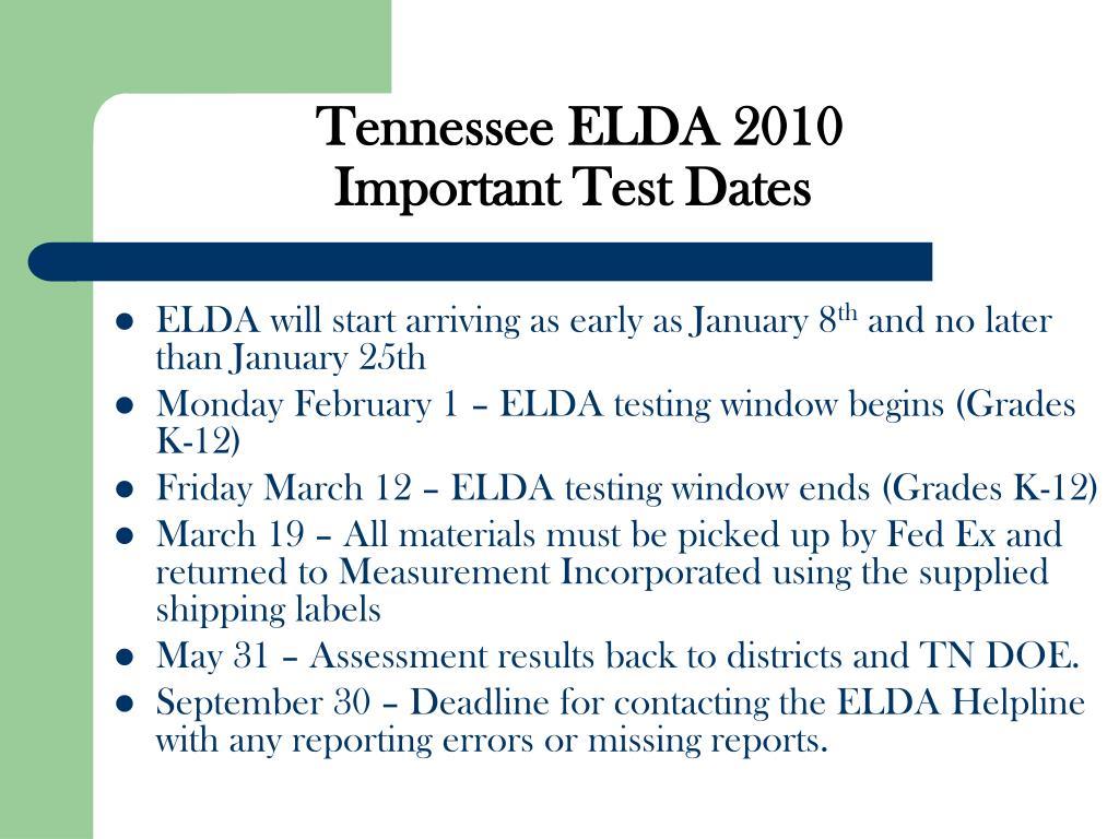 Tennessee ELDA 2010