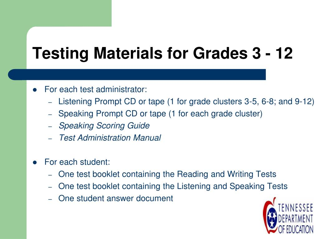 Testing Materials for Grades 3 - 12