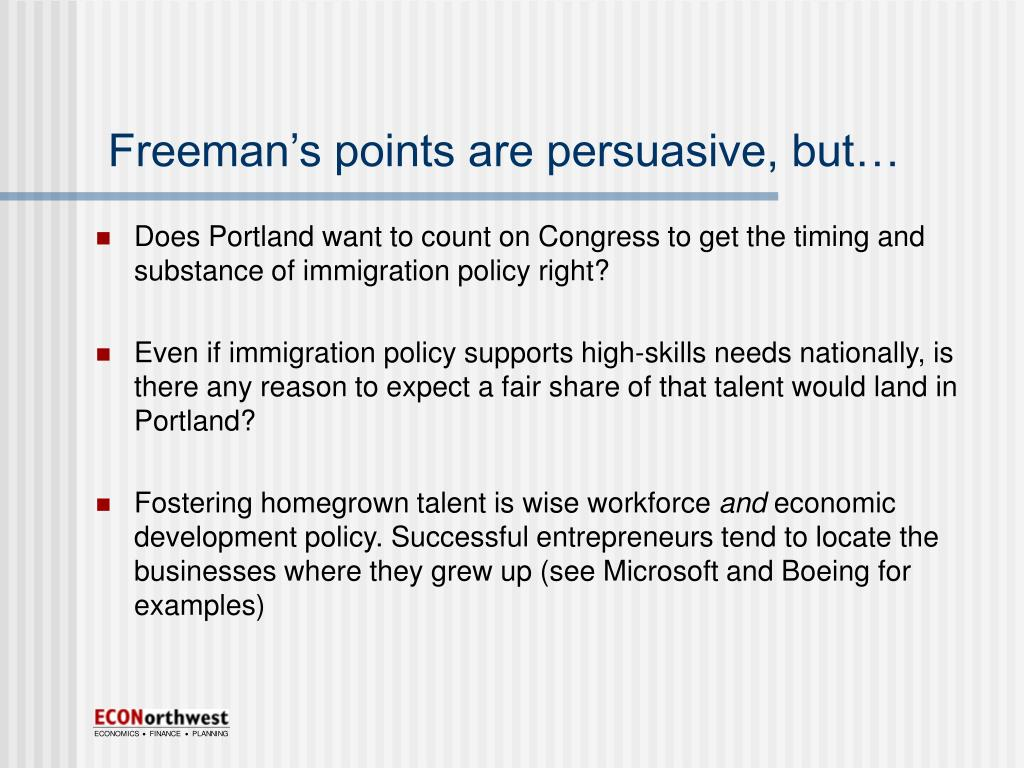 Freeman's points are persuasive, but…