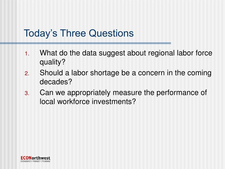 Today s three questions