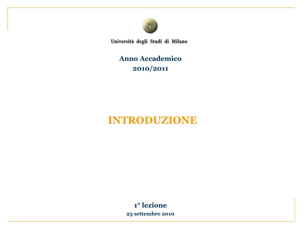 Anno Accademico 2010/2011
