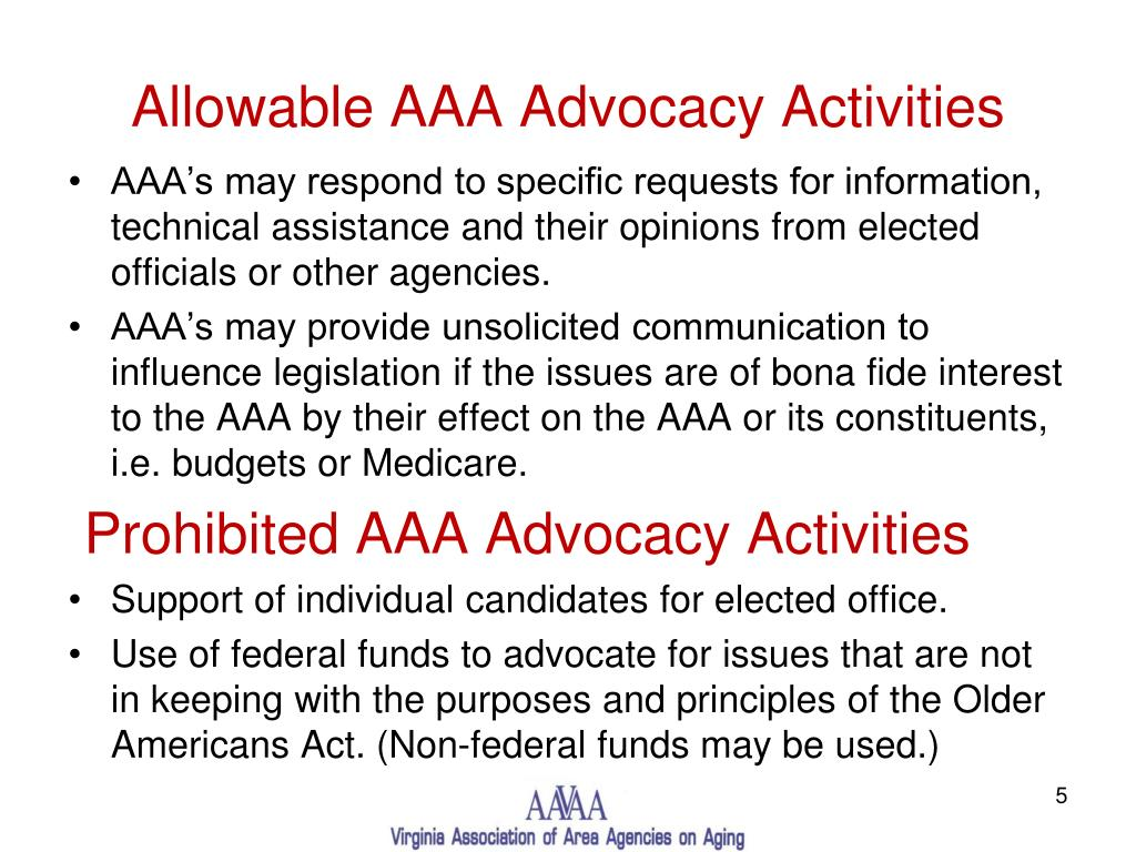 Allowable AAA Advocacy Activities