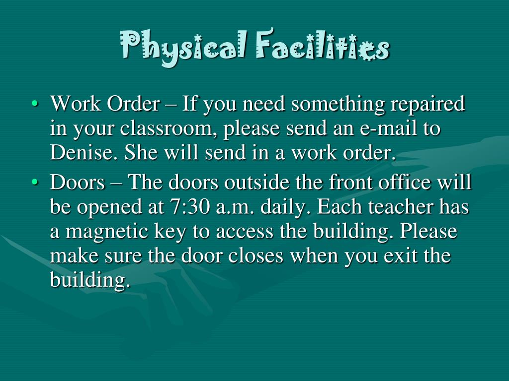 PPT Welcome Back Teachers and Staff PowerPoint  : physical facilities20 l from www.slideserve.com size 1024 x 768 jpeg 116kB