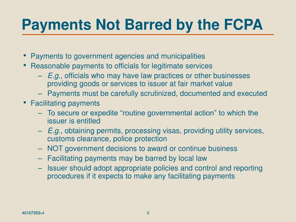 Payments Not Barred by the FCPA