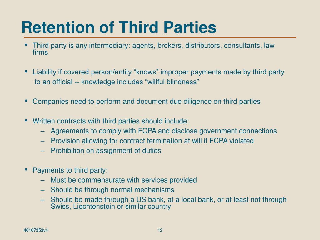 Retention of Third Parties
