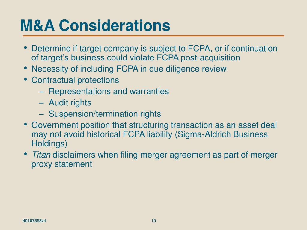 M&A Considerations