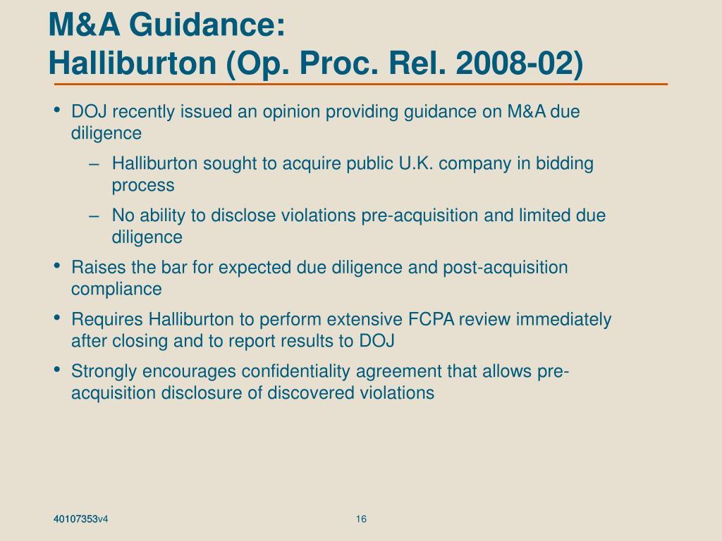M&A Guidance: