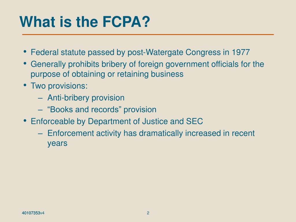What is the FCPA?