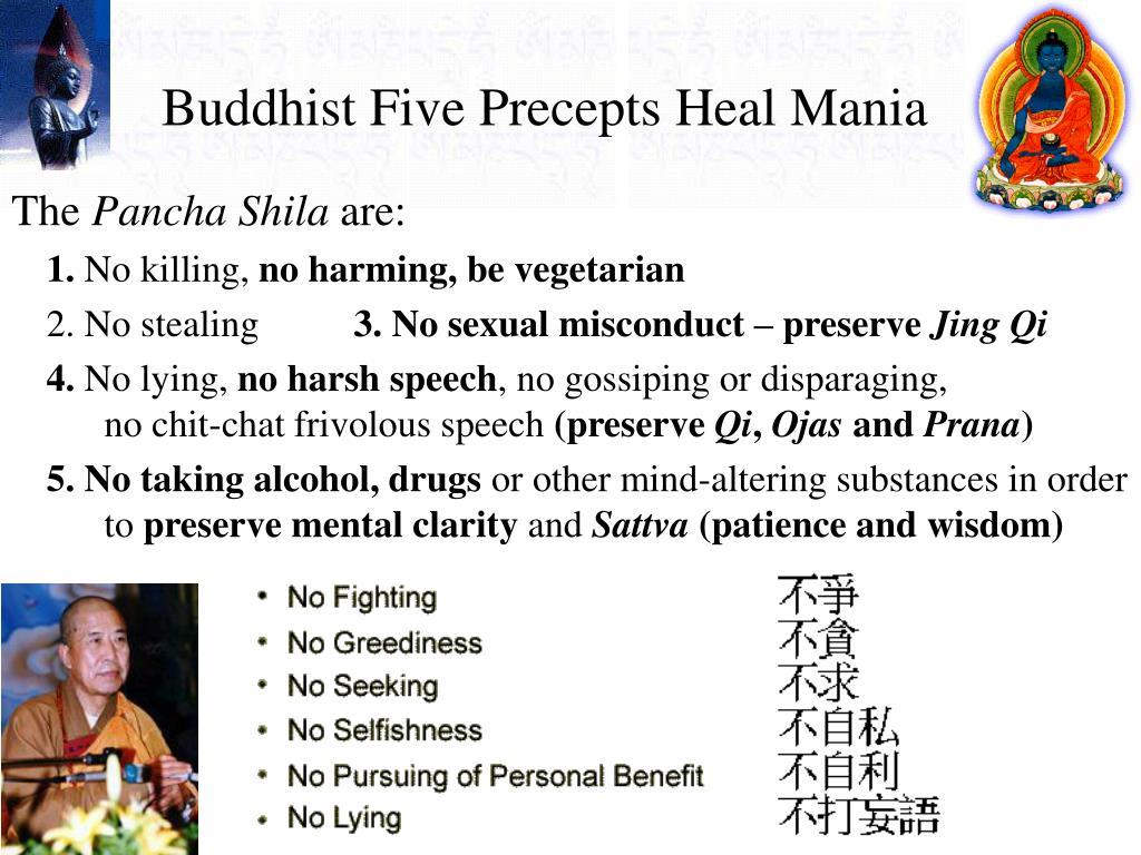 Buddhist Five Precepts Heal Mania