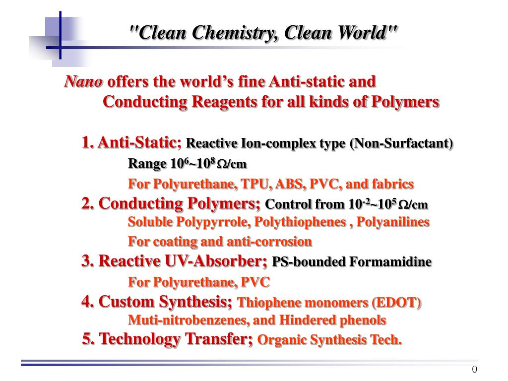 """Clean Chemistry, Clean World"""