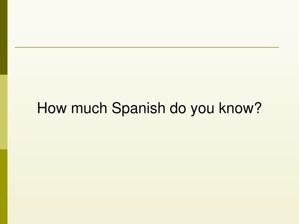 How much Spanish do you know?