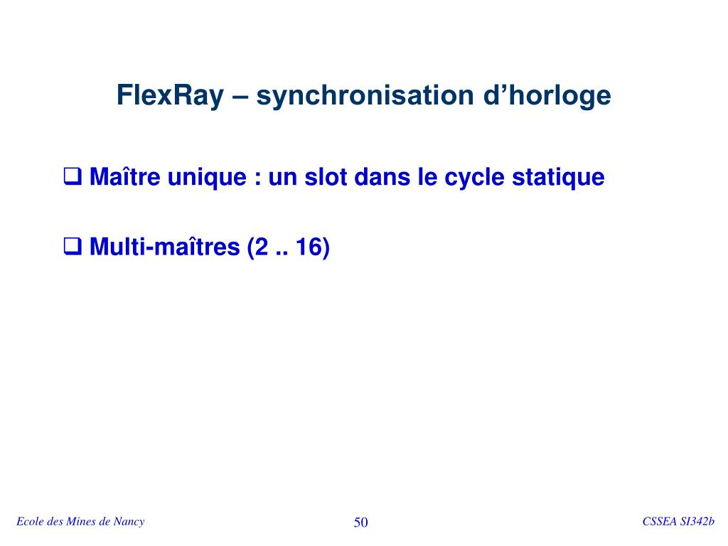 FlexRay – synchronisation d'horloge