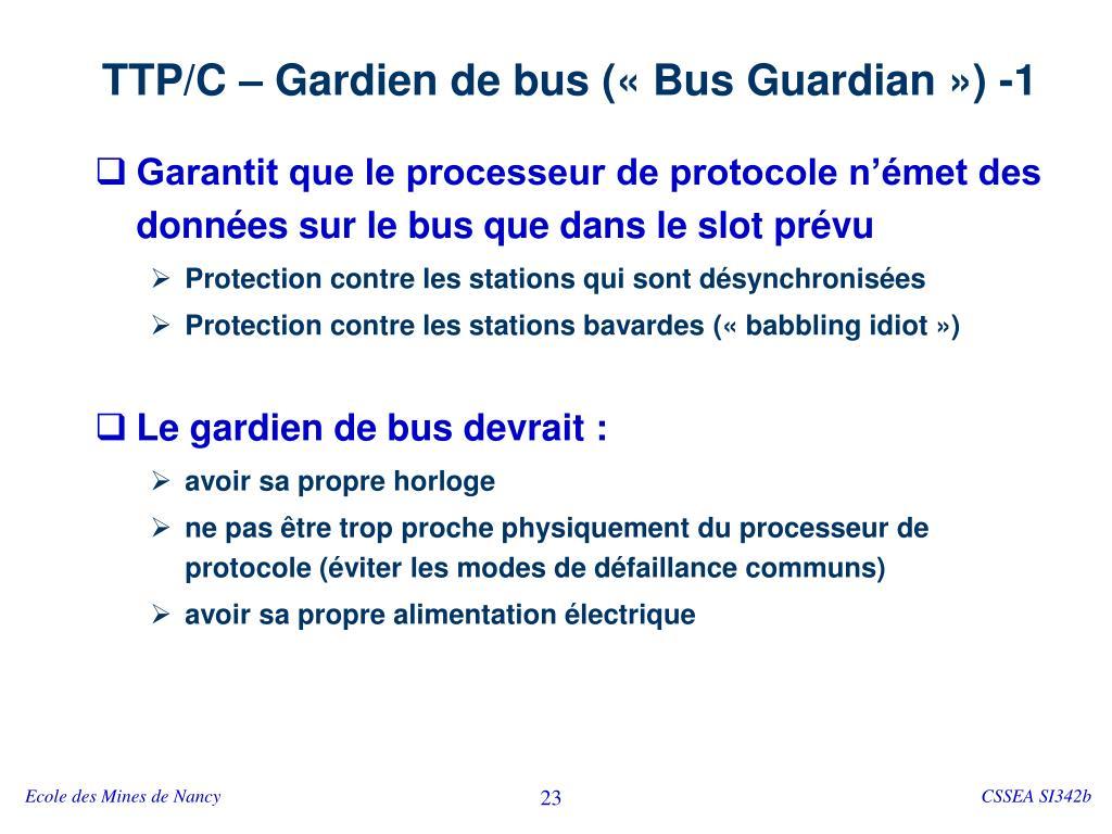 TTP/C – Gardien de bus («Bus Guardian») -1