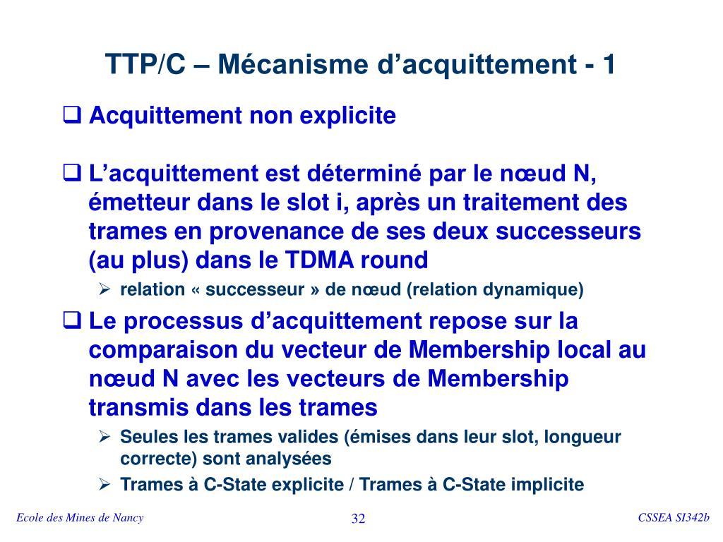 TTP/C – Mécanisme d'acquittement - 1