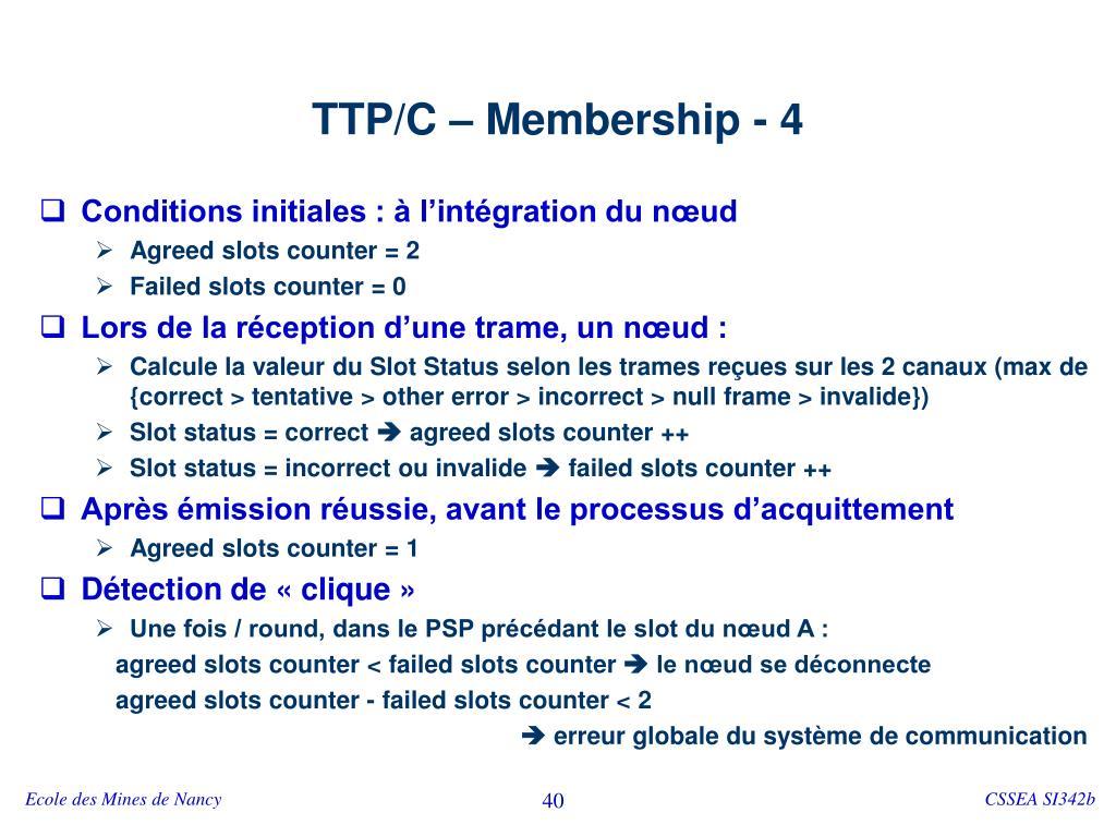 TTP/C – Membership - 4