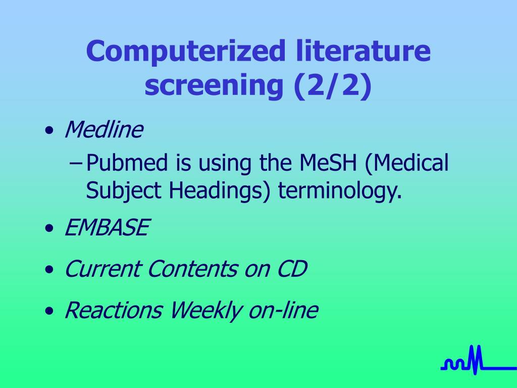 Computerized literature screening (2/2)