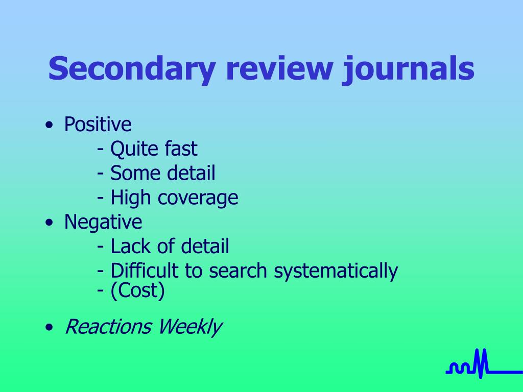 Secondary review journals