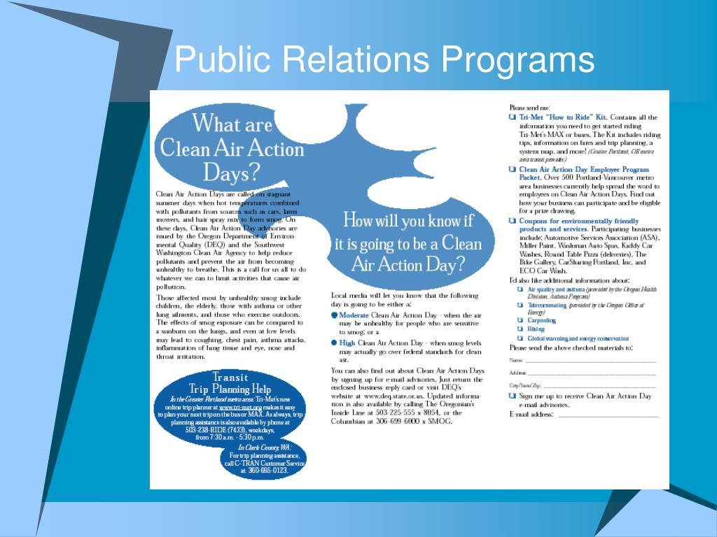 Public Relations Programs