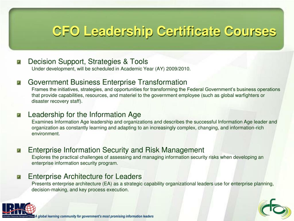 CFO Leadership Certificate Courses
