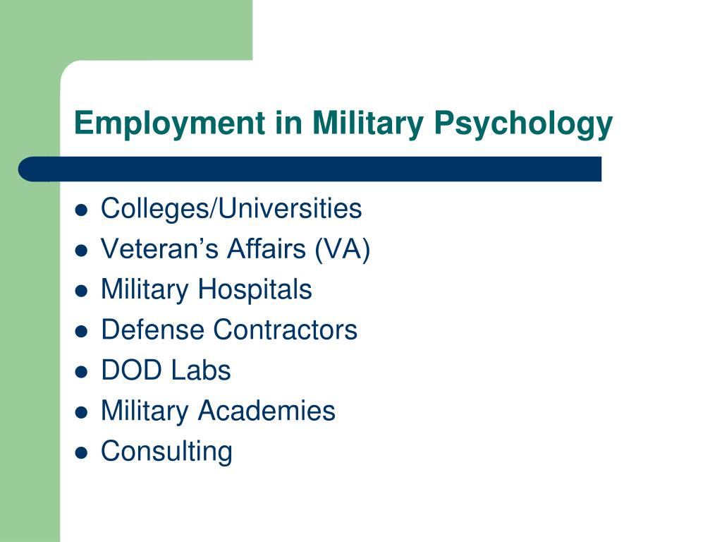 Employment in Military Psychology