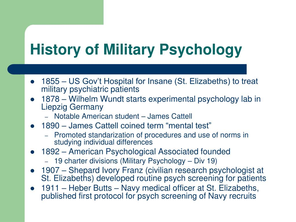 History of Military Psychology
