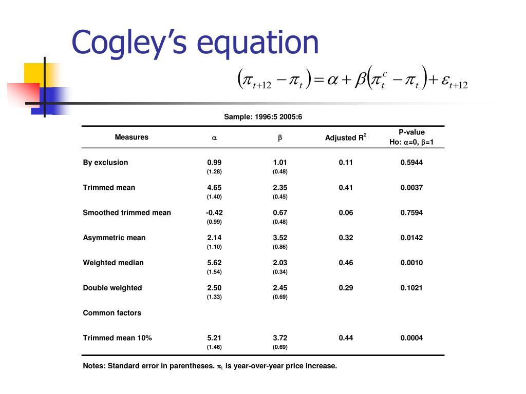 Cogley's equation