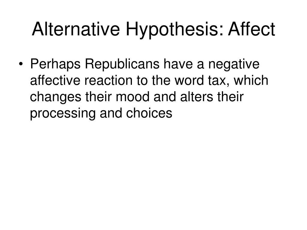 Alternative Hypothesis: Affect