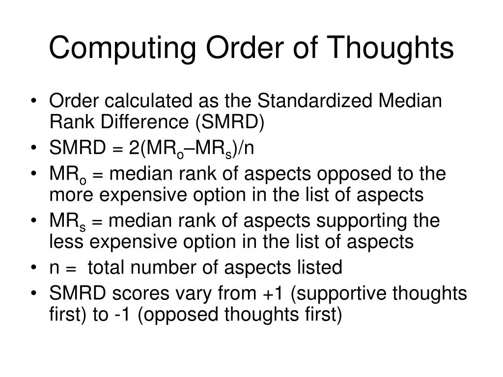 Computing Order of Thoughts