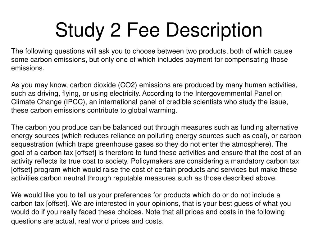 Study 2 Fee Description