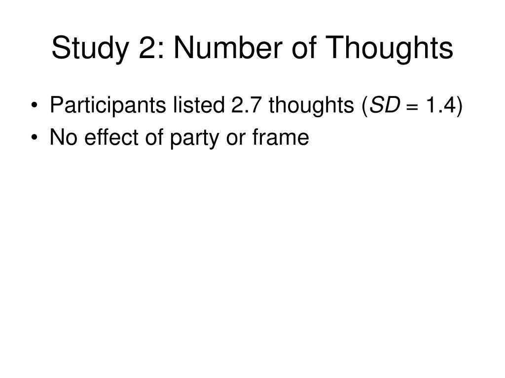 Study 2: Number of Thoughts