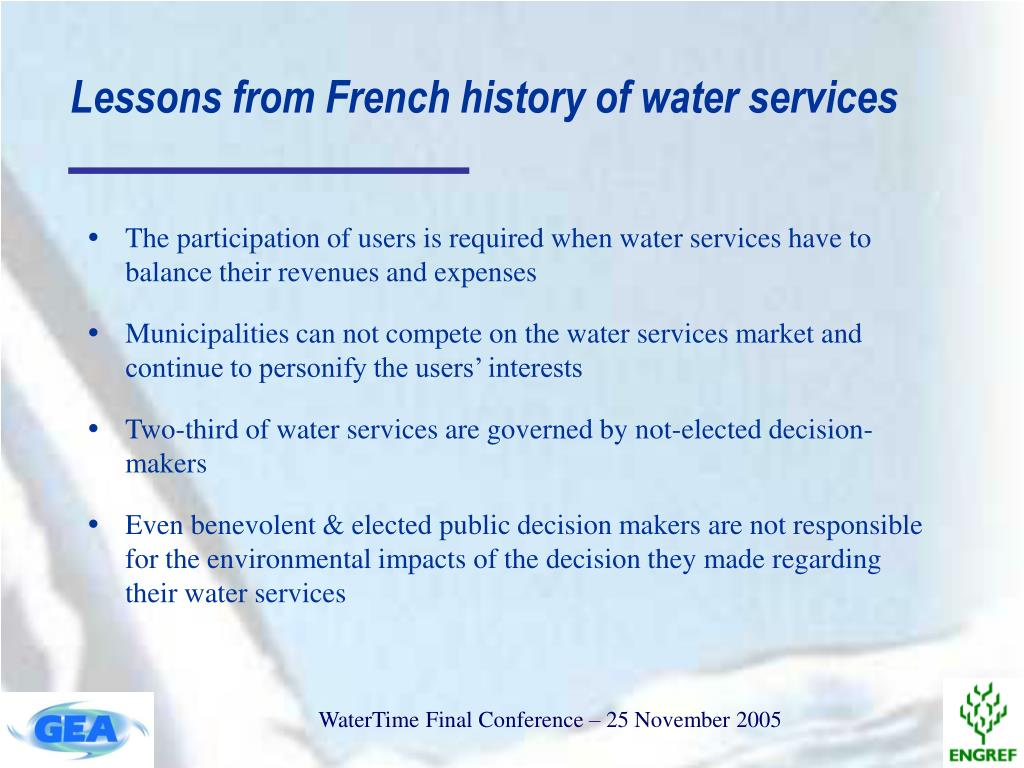 Lessons from French history of water services
