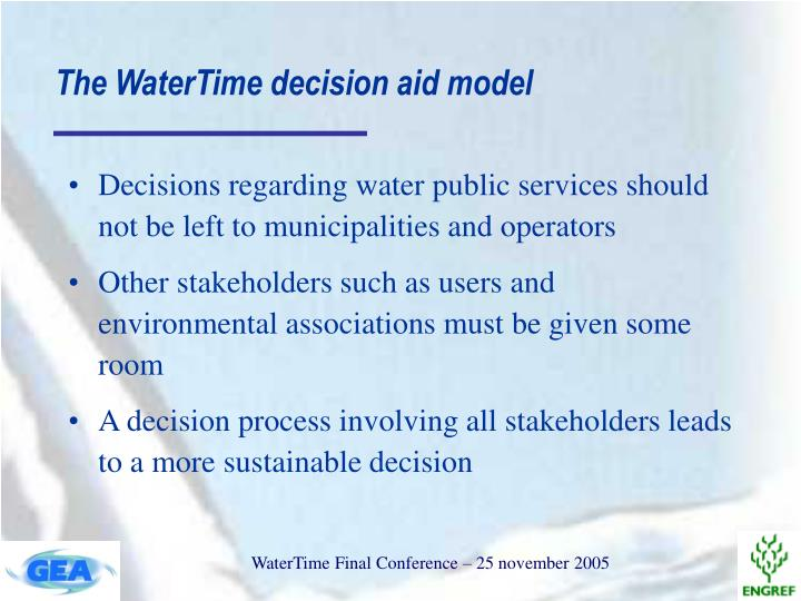 The watertime decision aid model