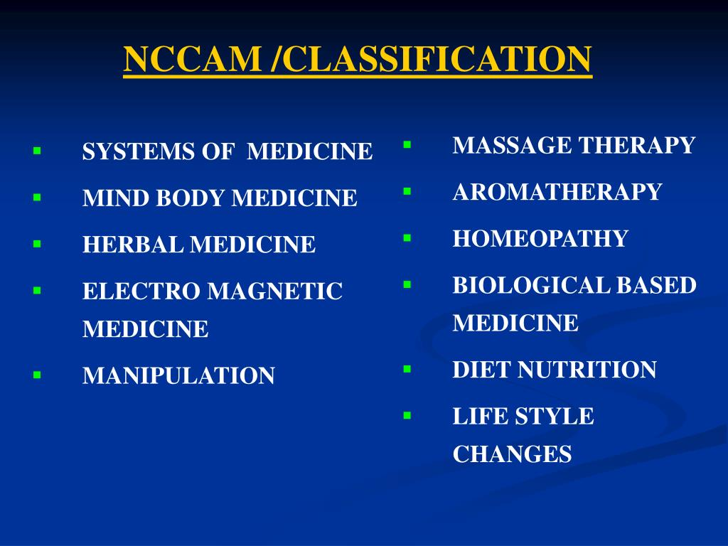 NCCAM /CLASSIFICATION