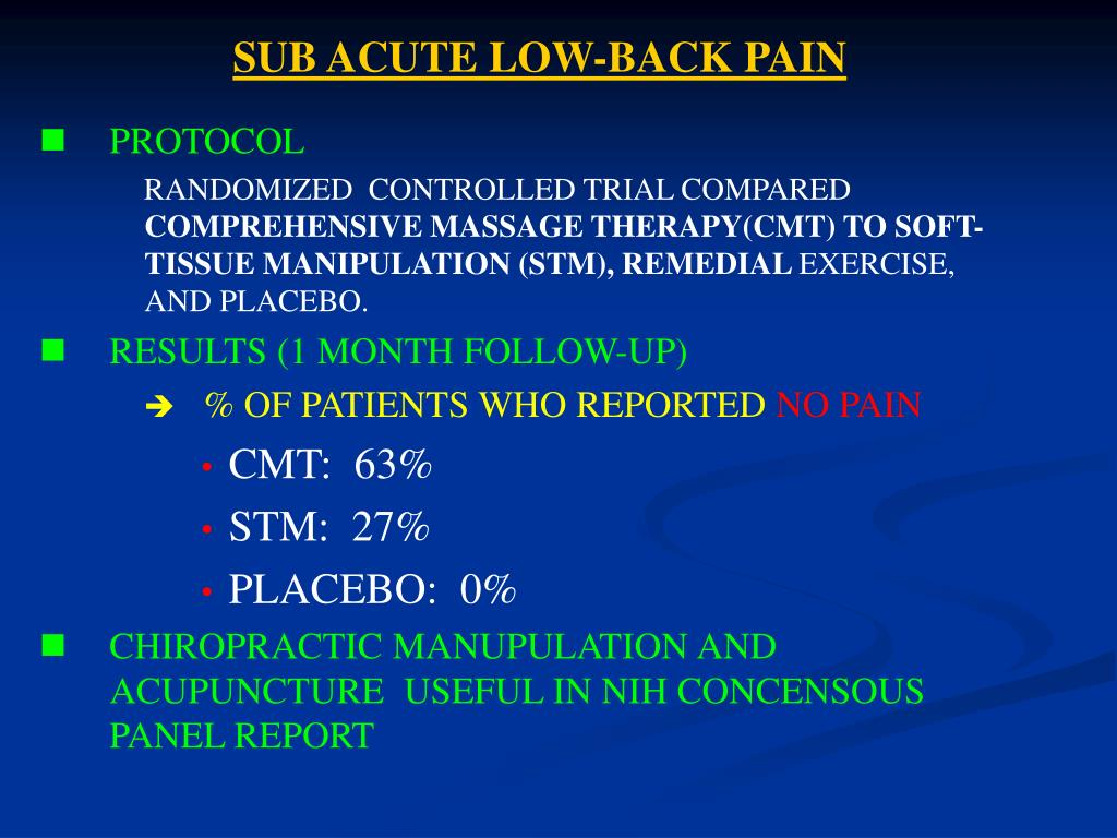SUB ACUTE LOW-BACK PAIN
