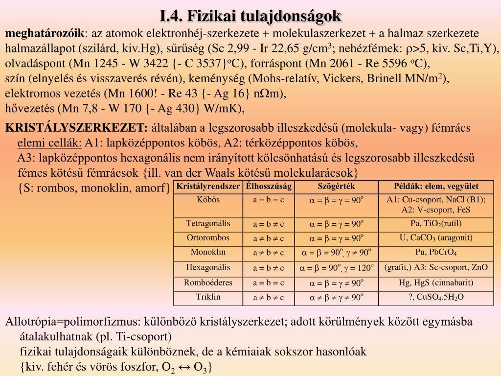 I.4. Fizikai tulajdonságok