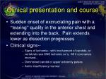 clinical presentation and course