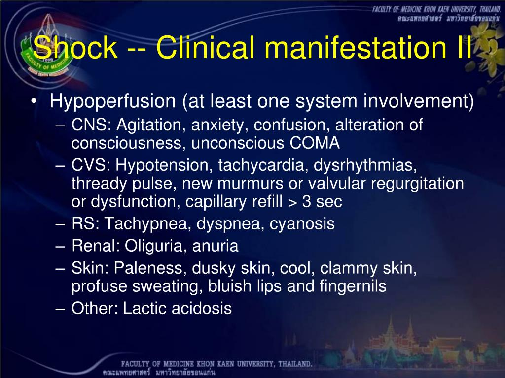 Shock -- Clinical manifestation II